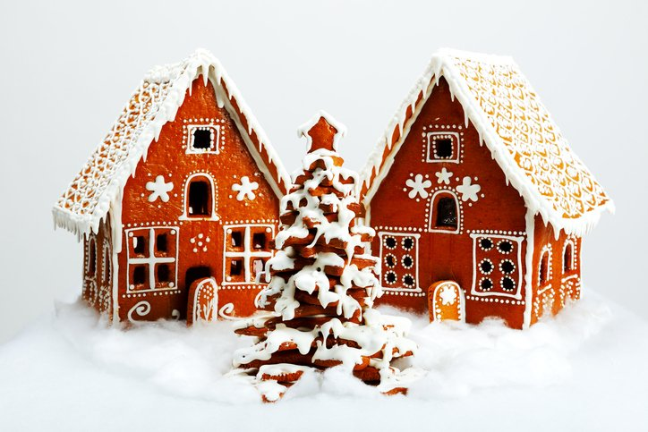 Gingerbread houses are shown to promote our upcoming competition.